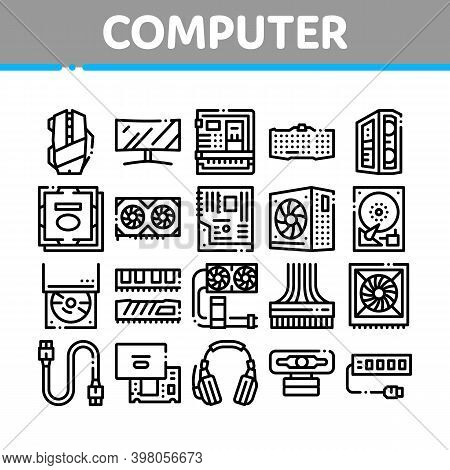 Computer Technology Collection Icons Set Vector. Computer Mouse And Keyboard, Monitor And Video Card