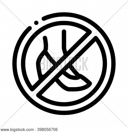 Prohibition Wearing Shoes With Heels Black Icon Vector. Prohibition Wearing Shoes With Heels Sign. I