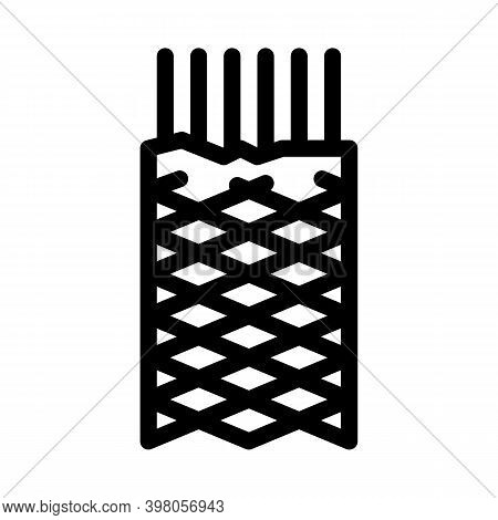 Metallic Insulation Shield Cable Black Icon Vector. Metallic Insulation Shield Cable Sign. Isolated