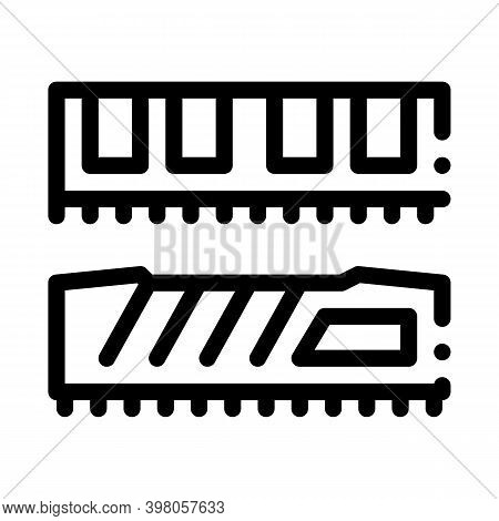 Riser Memory Cards Black Icon Vector. Riser Memory Cards Sign. Isolated Symbol Illustration