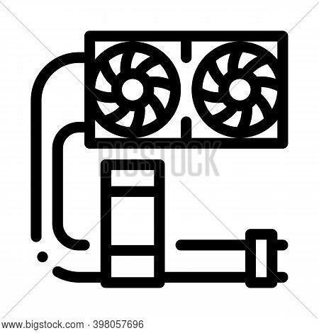 Water Cooler Computer Part Black Icon Vector. Water Cooler Computer Part Sign. Isolated Symbol Illus
