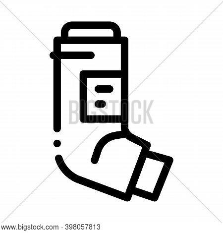 Inhaler Asthma Treatment Tool Black Icon Vector. Inhaler Asthma Treatment Tool Sign. Isolated Symbol