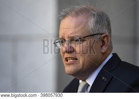 Canberra, Australia, September 2020, Australia Prime Minister Scott Morrison In Meeting