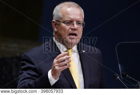 Canberra, Australia, September 2020, Australia Prime Minister Scott Morrison While Talking