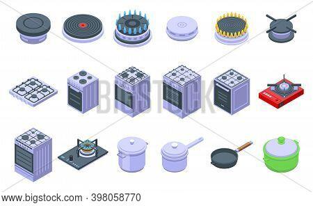 Burning Gas Stove Icons Set. Isometric Set Of Burning Gas Stove Vector Icons For Web Design Isolated