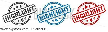 Highlight Stamp. Highlight Round Isolated Sign. Highlight Label Set