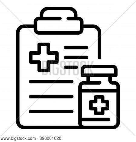 Doctor Receipt Icon. Outline Doctor Receipt Vector Icon For Web Design Isolated On White Background
