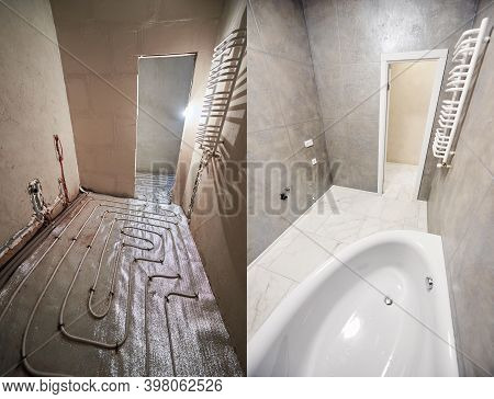 Collage Of Modern Bathroom With Marble Floor Before And After Renovation. Comparison Of Old Restroom