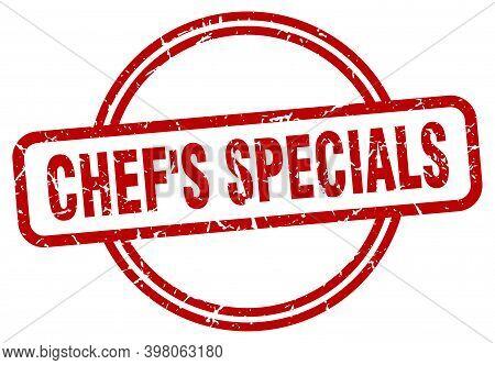 Chefs Specials Stamp. Chefs Specials Round Vintage Grunge Sign. Chefs Specials