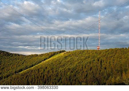 Landscape Of Kremnicke Vrchy Mountains With A Ski Slope And The Tv And Broadcasting Transmitter
