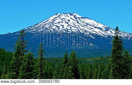 Volcanic Peak Panorama - A June View Of Mt. Bachelor As Seen From Cascade Lakes Highway - Cascade Ra