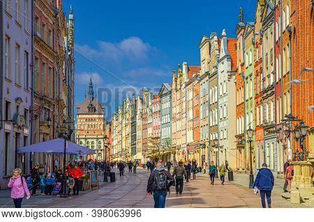 Gdansk, Poland, April 17, 2018: Golden Gate Zlota Brama, Prison Tower, Typical Colorful Houses Build