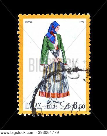 Greece - Circa 1973 : Cancelled Postage Stamp Printed By Greece, That Shows Female Costume From The
