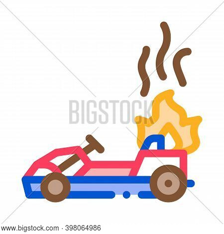 Burning Kart, Fire Accident Color Icon Vector. Burning Kart, Fire Accident Sign. Isolated Symbol Ill