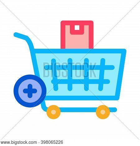 Buying Products And Adding In Market Cart Color Icon Vector. Buying Products And Adding In Market Ca
