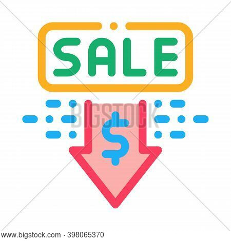 Selling Price Discount Color Icon Vector. Selling Price Discount Sign. Isolated Symbol Illustration