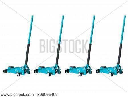 Set Hydraulic Car Floor Jacks Isolated On White Background. Car Lift. Blue Hydraulic Floor Jack For