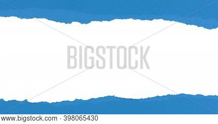 Blue Torn Paper With Rolled Edge With Blank Space. Torn Paper With White Copy Space. Empty Space For