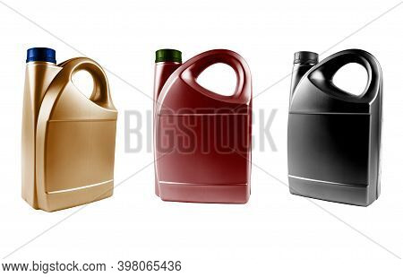 Three New Plastic Oil Canister Isolated On White Background.  Storage Tank. Canister For Gasoline, D