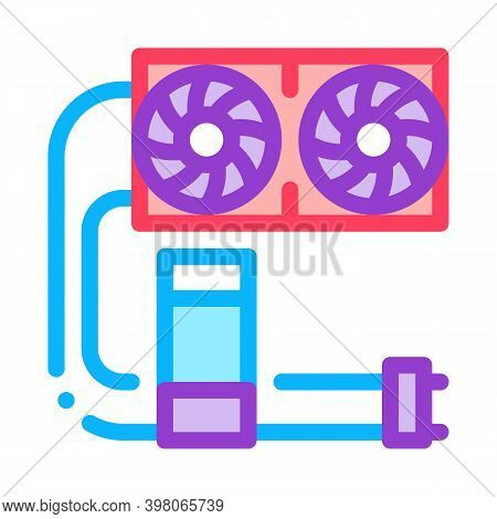 Water Cooler Computer Part Color Icon Vector. Water Cooler Computer Part Sign. Isolated Symbol Illus