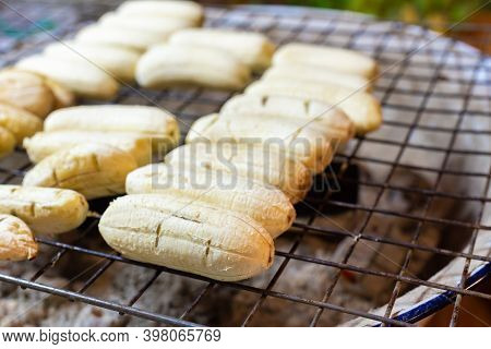Charcoal Baked Bananas, Asian Cuisine, Traditional Village Food In Koh Samui, Thailand, Night Market