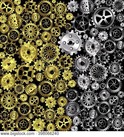 Vector Illustration Iron Background With White And Yellow Gears