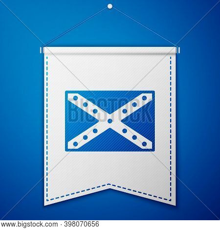 Blue National Flag Of The Confederate States Of America Icon Isolated On Blue Background. White Penn