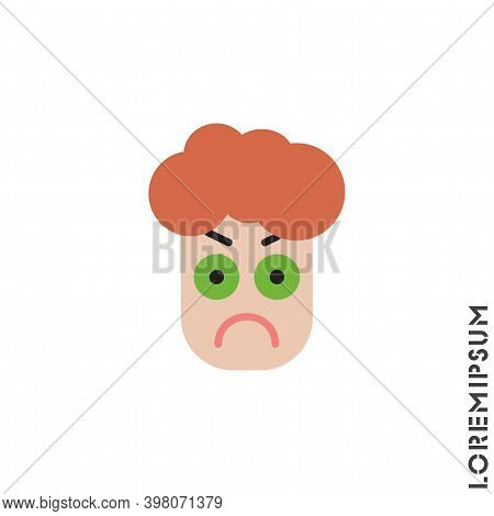 Angry Icon Vector. Furious Face Emoticon Boy, Man Icon Vector Illustration. Color Style.