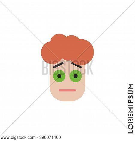 Cute Emoticon Sticker Color Boy, Man Icon, Vector Illustration. Embarrassed Shy Blushing Face Emotic