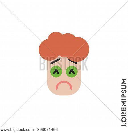 Sad And In Bad Mood Emoticon Boy, Man Icon Vector Illustration. Color Style. Depressed, Sad, Stresse