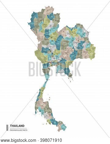 Thailand Higt Detailed Map With Subdivisions. Administrative Map Of Thailand With Districts And Citi