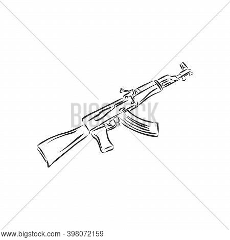 Assault Rifle . Doodle Style. Assault Rifle Vector Sketch Illustration