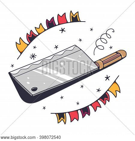 Cute Illustration With A Kitchen Cleaver. Isolated On A White Background. Vector Doodle Illustration