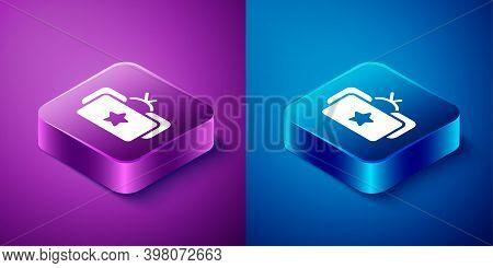 Isometric Ushanka Icon Isolated On Blue And Purple Background. Russian Fur Winter Hat Ushanka With S
