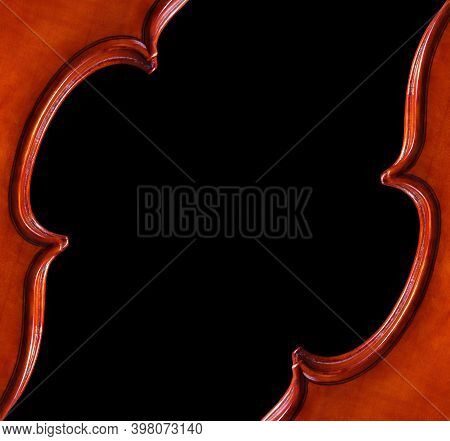 Music Concept. Violins On A Black Background. Violin Body Front And Back. Copy Space