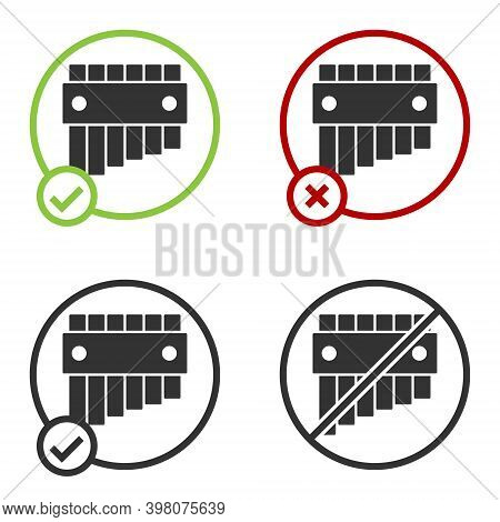 Black Pan Flute Icon Isolated On White Background. Traditional Peruvian Musical Instrument. Folk Ins