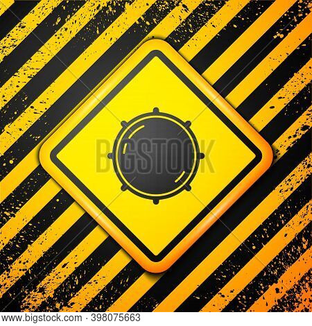 Black Dial Knob Level Technology Settings Icon Isolated On Yellow Background. Volume Button, Sound C