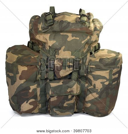 Military backpack isolated on white background. Clipping path. poster