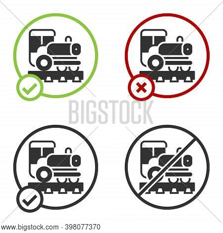 Black Vintage Locomotive Icon Isolated On White Background. Steam Locomotive. Circle Button. Vector