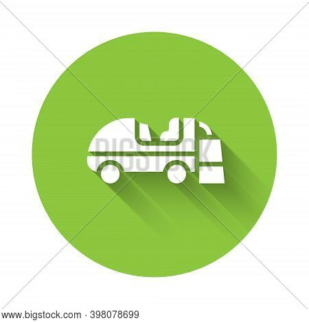 White Ice Resurfacer Icon Isolated With Long Shadow. Ice Resurfacing Machine On Rink. Cleaner For Ic