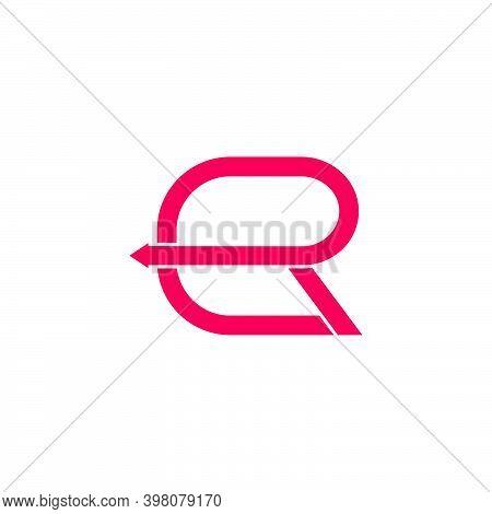 Letter Er Simple Square Line Arrow Geometric Logo Vector