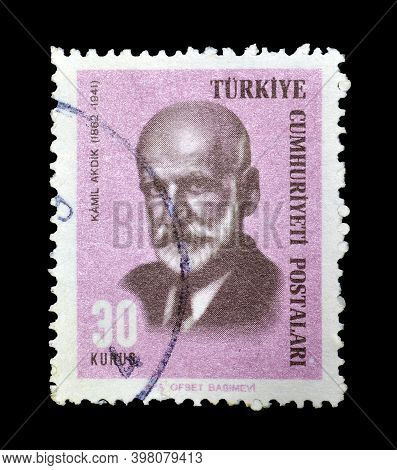 Turkey - Circa 1966: Cancelled Postage Stamp Printed By Turkey, That  Shows Kamil Akdik, Graphic Art