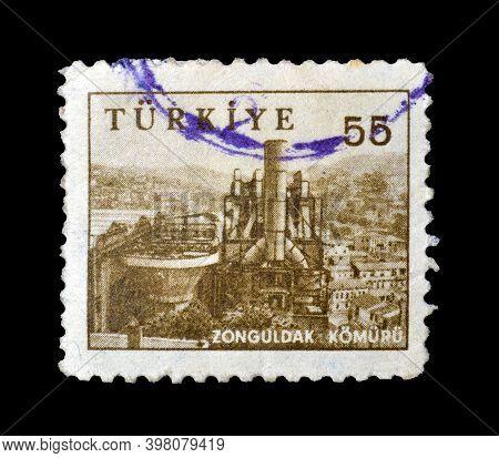Turkey - Circa 1959: Cancelled Postage Stamp Printed By Turkey, That Shows Coal Mine, Zonguldak, Cir
