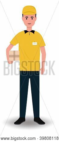 Courier Delivery. The Courier Holds The Parcel In His Hand. Character On A White Background. Courier