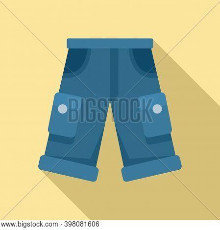 Fisherman Jeans Shorts Icon. Flat Illustration Of Fisherman Jeans Shorts Vector Icon For Web Design