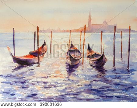Venice Gondolas On San Marco Square At Sunset, Venice, Italy. Venice Grand Canal. Picture Created Wi