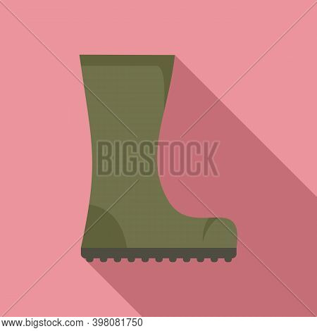 Fisherman Water Boot Icon. Flat Illustration Of Fisherman Water Boot Vector Icon For Web Design