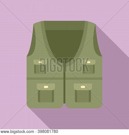 Fisherman Hunter Vest Icon. Flat Illustration Of Fisherman Hunter Vest Vector Icon For Web Design