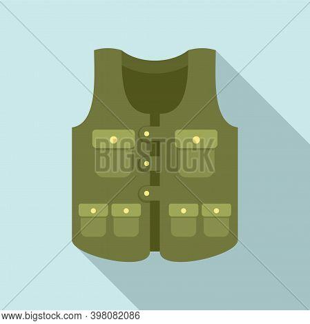 Hunter Pocket Vest Icon. Flat Illustration Of Hunter Pocket Vest Vector Icon For Web Design