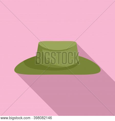 Hunter Green Hat Icon. Flat Illustration Of Hunter Green Hat Vector Icon For Web Design